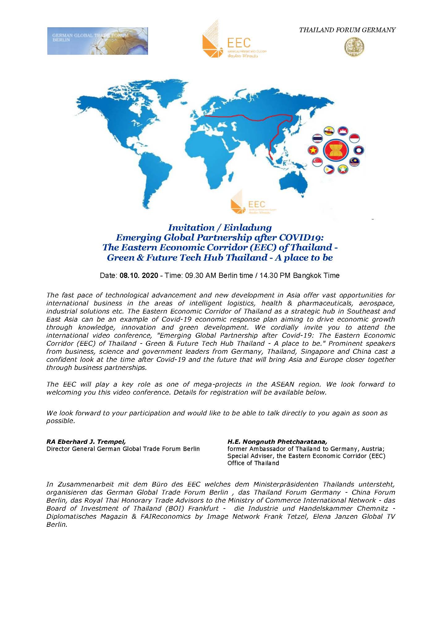 Emerging Global Partnership after COVID-19: The Eastern Economic Corridor  (EEC) of Thailand – Green & Future Tech Hub Thailand – A place to be